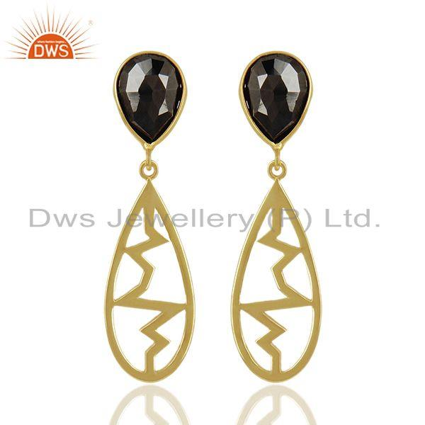 Hematite Pear Studded Heartbeat Collection Gold Plated Designer Silver Earring