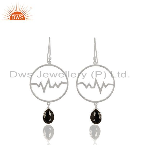 Hematite Studded Simple Heartbeat Designer Silver Earring