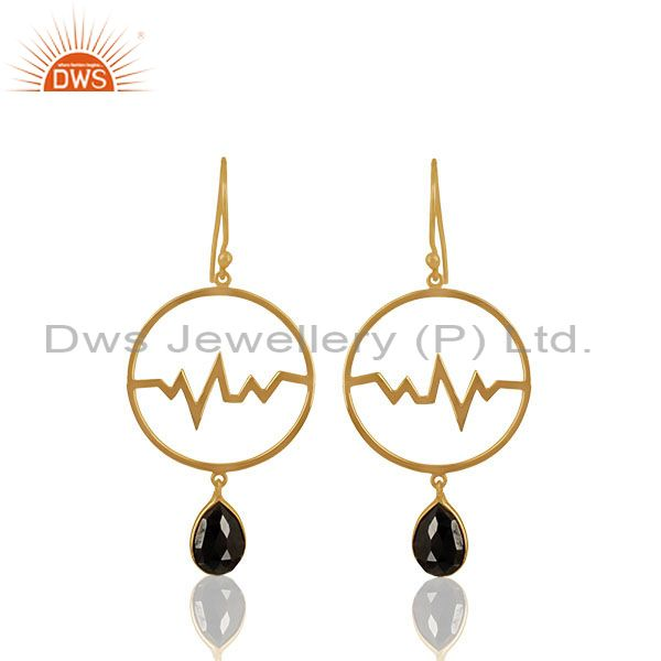 Hematite Studded Simple Heartbeat Gold Plated Designer Silver Earring