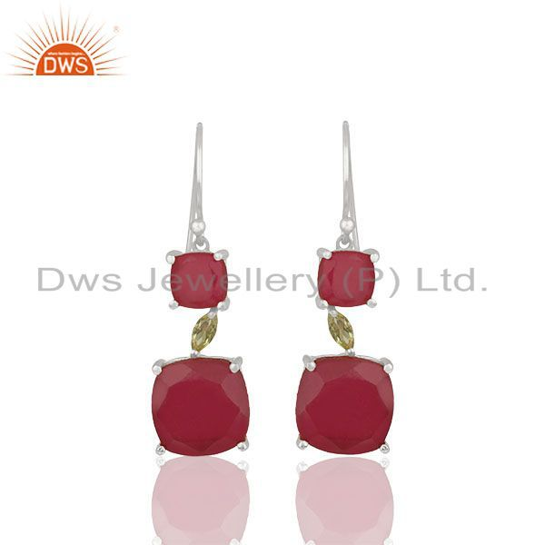 Peridot and Ruby Gemstone Fine 925 Silver Dangle Earrings Manufacturer