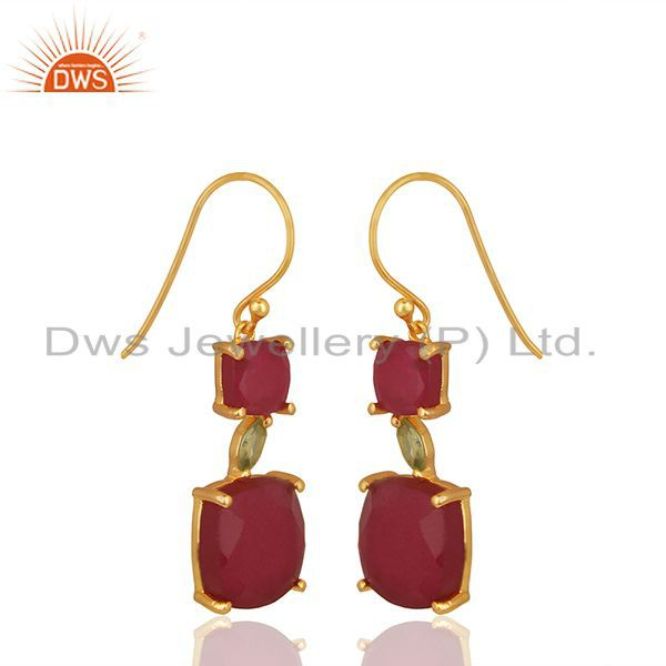 Wholesale 925 Silver Gold Plated Multi Gemstone Earrings Jewellery
