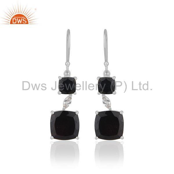 Black Onyx Gemstone 925 Silver Drop Earrings Manufacturer of Girls Jewelry