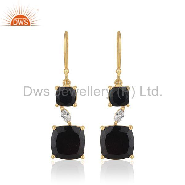 14k Gold Plated 925 Silver Black Onyx Gemstone Dangle Earrings Manufacturer