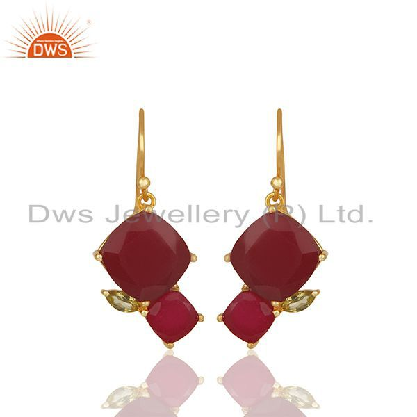 New Arrival Gold Plated 925 Silver Multi Gemstone Earrings Wholesale