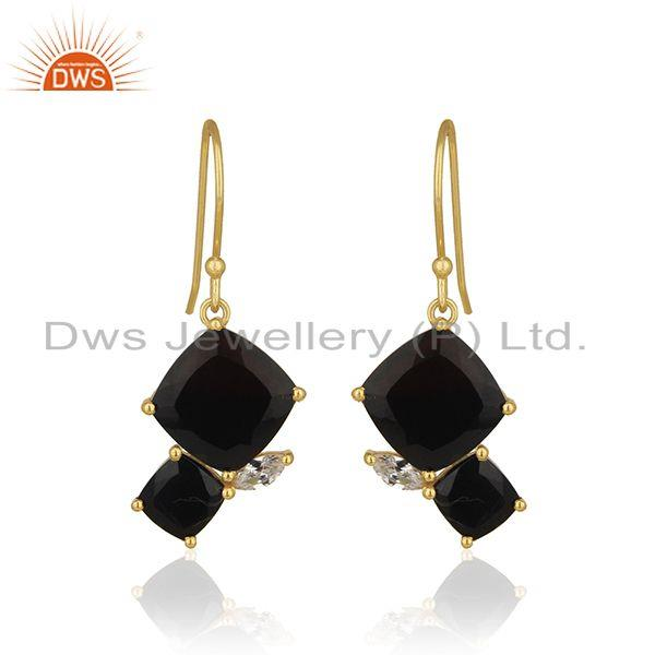 Handmade 925 Silver 14k Gold Plated Black Onyx Gemstone Drop Earrings Wholesale