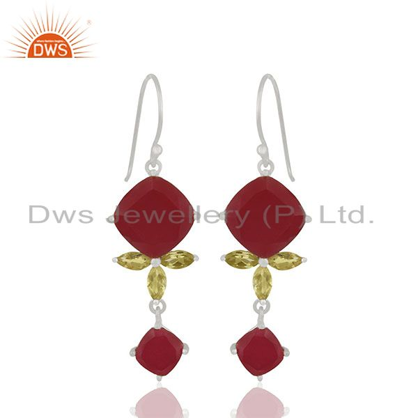 Dyed Ruby and Peridot Gemstone 925 Silver Dangle Earrings Wholesale