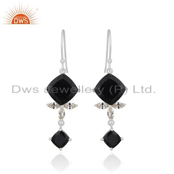 Black Onyx Gemstone 925 Fine Silver Black Onyx and Zircon Earrings Wholesale