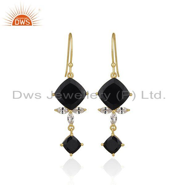 925 Silver 14k Gold Plated Black Onyx Gemstone Dangle Earrings Manufacturer