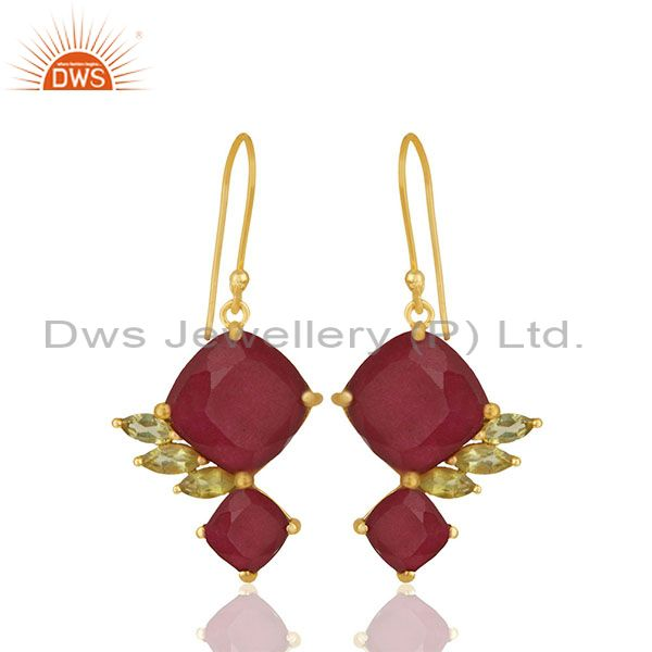 92.5 Sterling Silver Gold Plated Double Gemstone Earrings Wholesale