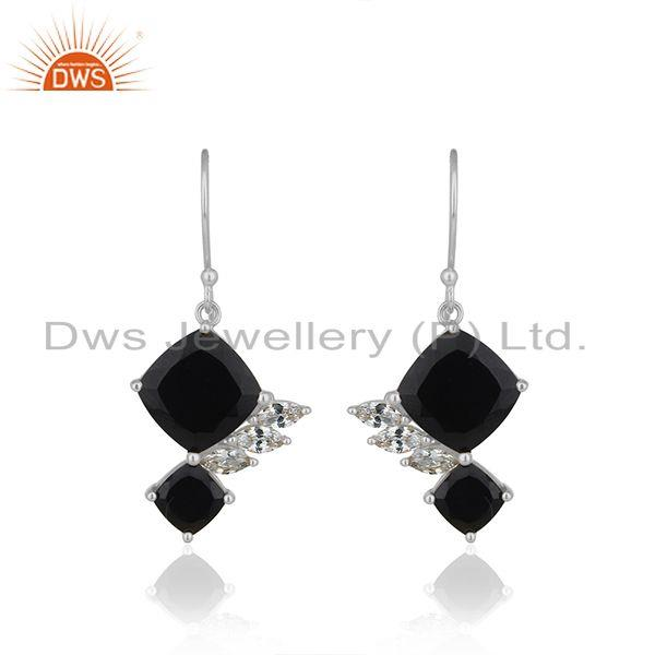 Black Onyx Gemstone With White Zircon 925 Silver Handmade Drop Earring Wholesale