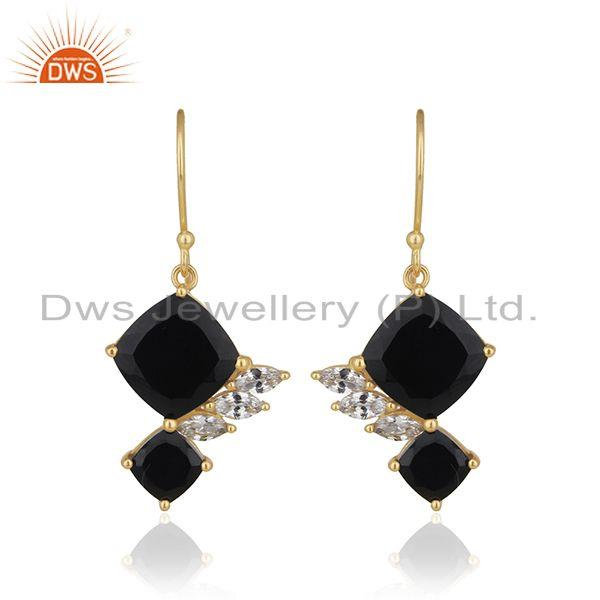 White Zircon and Black Onyx Gemstone 925 Silver Gold Plated Earrings Supplier