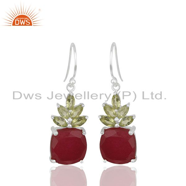 Prong Set Ruby and Peridot Gemstone Fine 925 Silver Earrings Wholesale