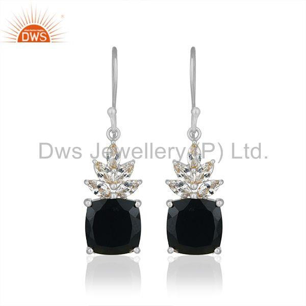 Fine Sterling Silver Cz and Onyx Gemstone Drop Earrings Supplier from India