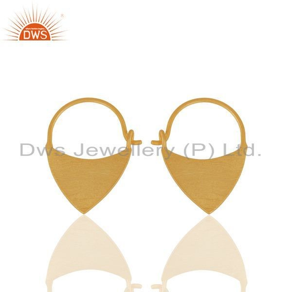 Solid Plain 925 Sterling Silver Gold Plated Handmade Earring Wholesale