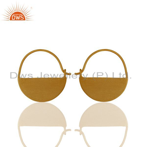 Round 925 Plain Silver Handmade Gold Plated Simple Earrings Suppliers