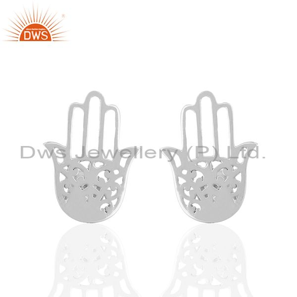 White Rhodium Plated Hamsa Hand Charm Silver Stud Earrings Wholesale