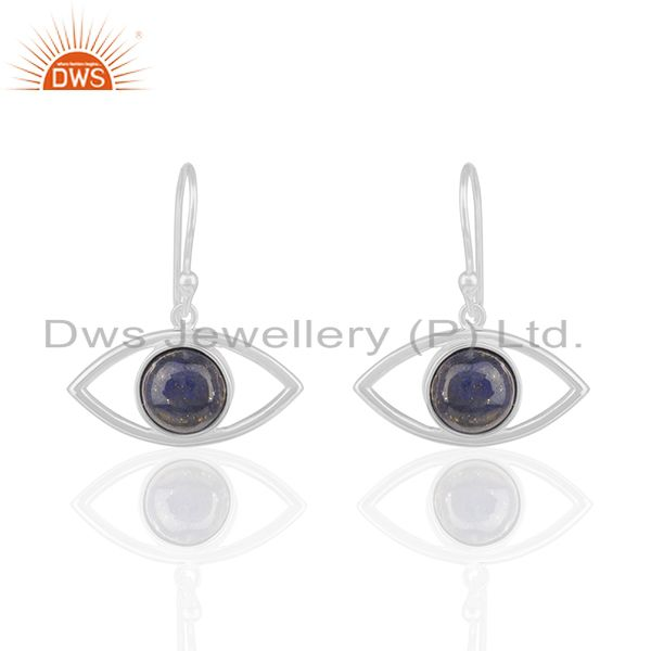 Solid Silver Evil Eye Design Natural Lapis Lazuli Gemstone Earrings