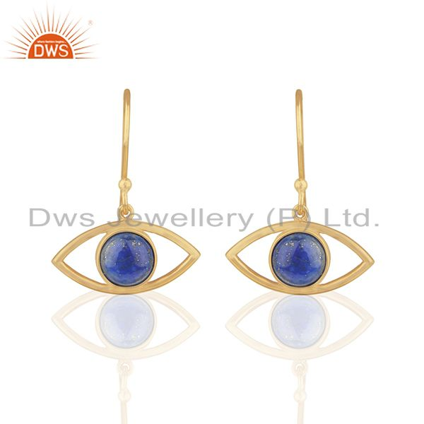 Evil Eye Design Round Blue Gemstone Brass Fashion Earring Manufacturer
