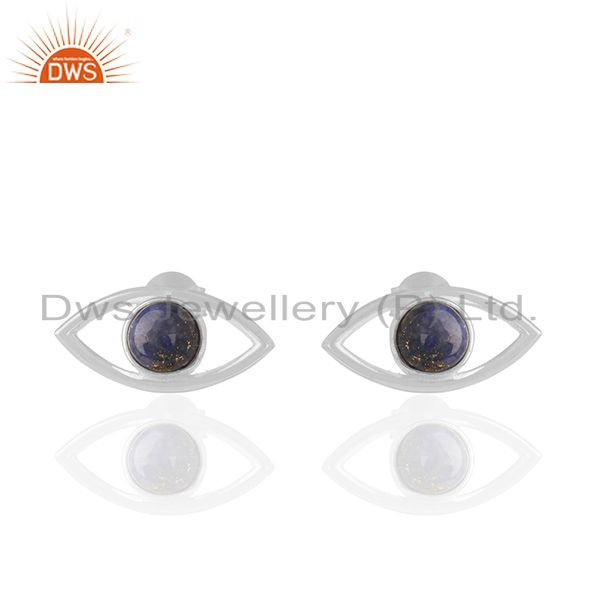 Lapis Lazuli Gemstone 925 Fine Silver Eye Design Stud Earrings