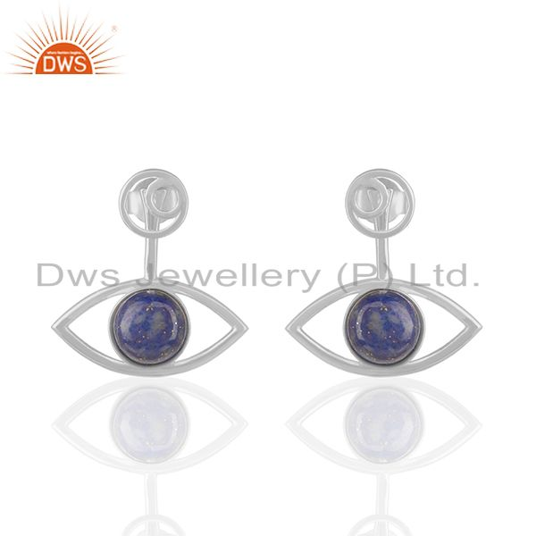 92.5 Sterling Silver Lapis Lazuli Gemstone Stud Earrings Wholesale