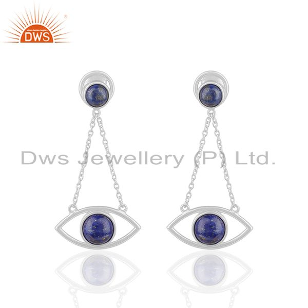 Handmade 925 Silver Lapis Lazuli Gemstone Chain Earrings Manufacturer