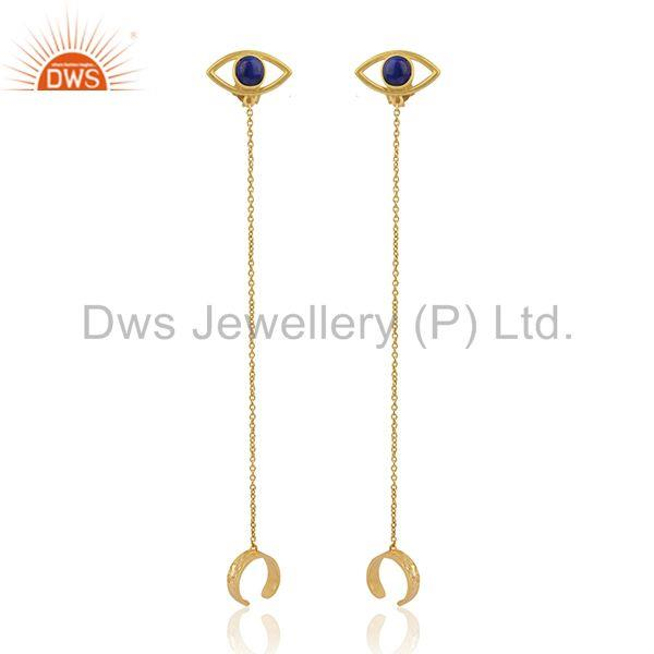Evil Eye Design 925 Silver Gold Plated Chain Ear Cuff Earrings Manufacturers