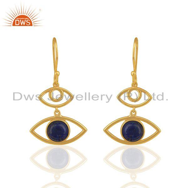 Natural Lapis Lazuli Gemstone 925 Silver Gold Plated Earring Wholesale