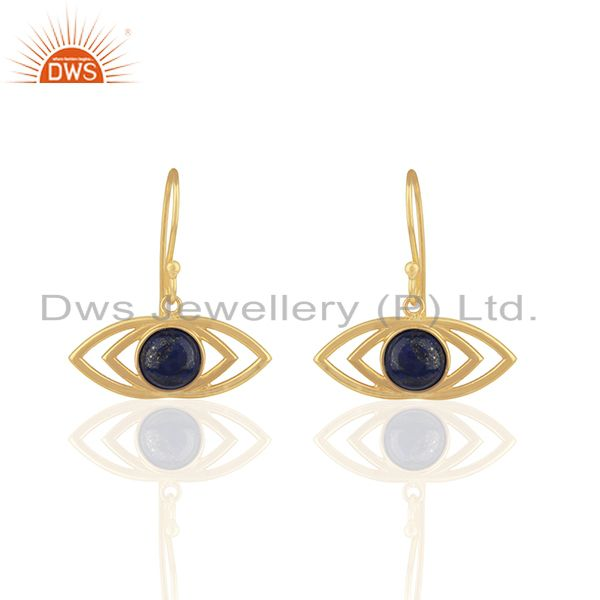 2017 New Designer 18k Gold Plated Evil Eye Design Silver Earring