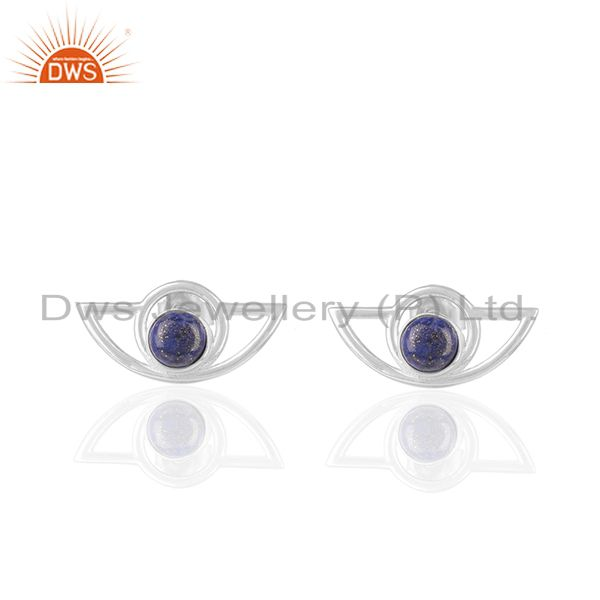 Genuine 925 Silver Eye Design Lapis Gemstone Stud Earrings Wholesale