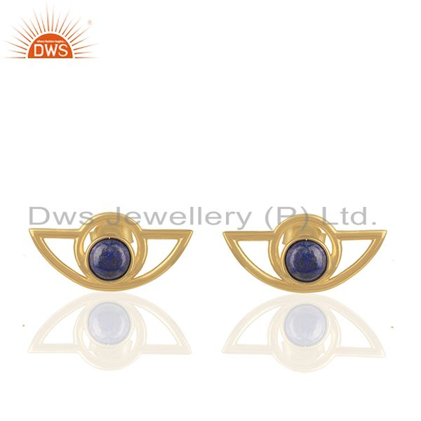 Designer 925 Silver Gold Plated Lapis Lazuli Gemtone Stud Earrings