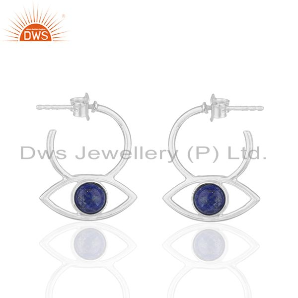 Natural Lapis Lazuli Gemstone Sterling 92.5 Silver Earrings Wholesale