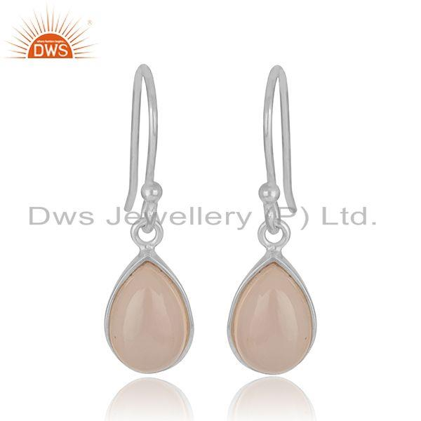 White 925 Sterling Silver Rose Chalcedony Gemstone Simple Drop Earrings Supplier