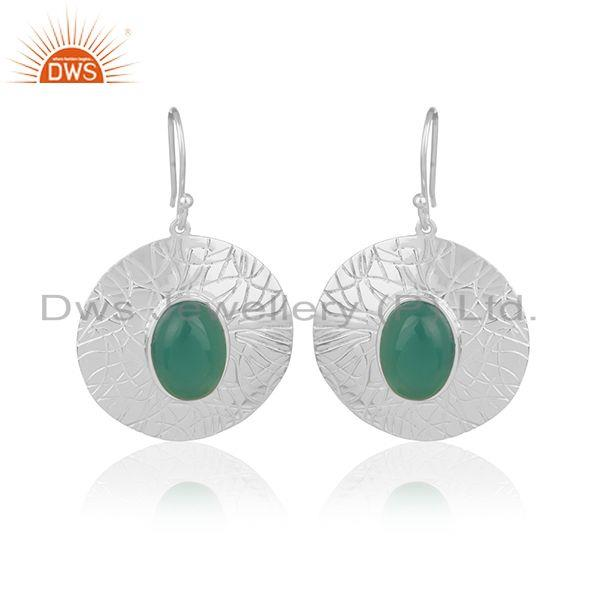Green Onyx Gemstone Silver Earrings Manufacturer of Jewelry for Designers