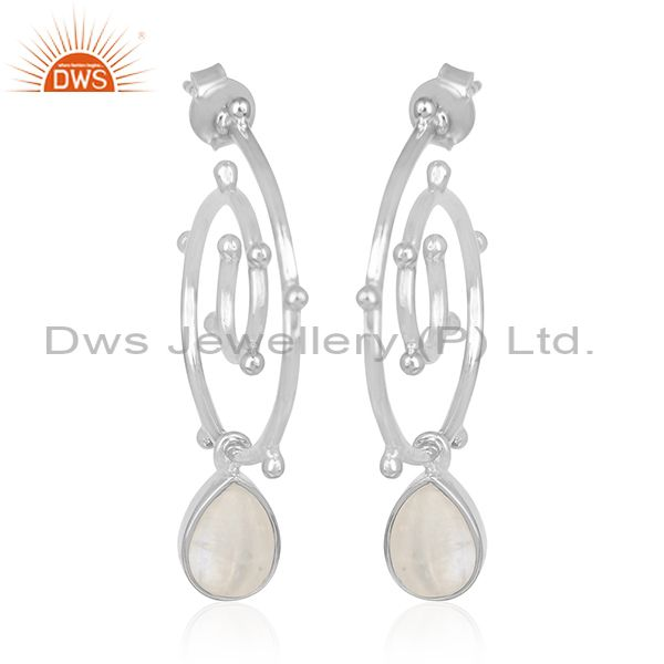 Rainbow Moonstone New Arrival 925 Silver Girls Earring Jewelry Wholesale