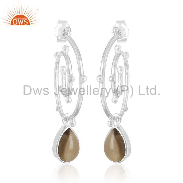 Sterling 92.5 Silver Smoky Quartz Gemstone Private Label Earring Manufacturer