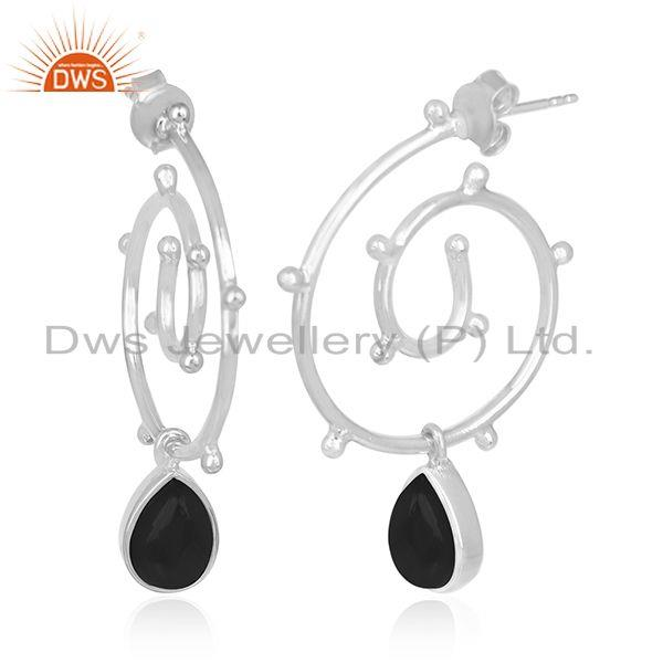 Onyx Black Gemstone Sterling Silver Custom Earring Jewelry Manufacturers