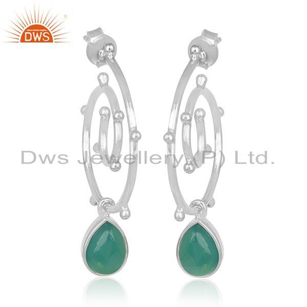 Customized 925 Sterling Silver Green Onyx Gemstone Earring Manufacturer