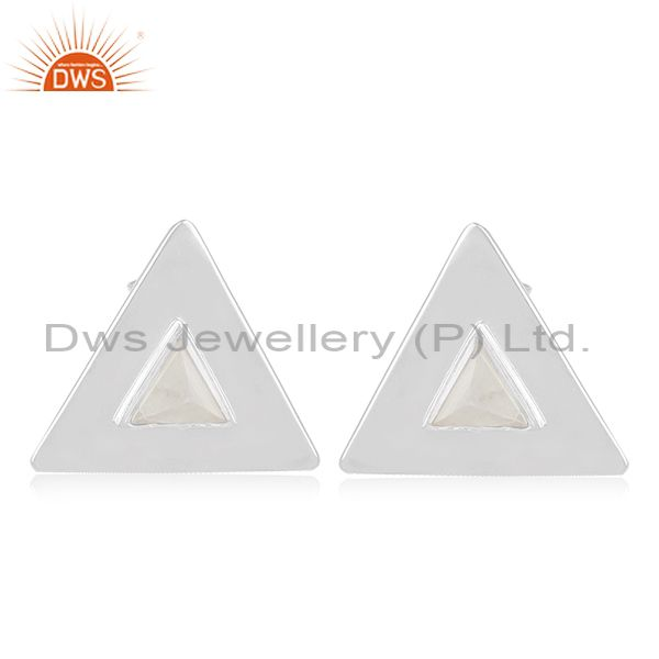 Rainbow Moonstone Triangle Shape Sterling Silver Girls Stud Earring Wholesale