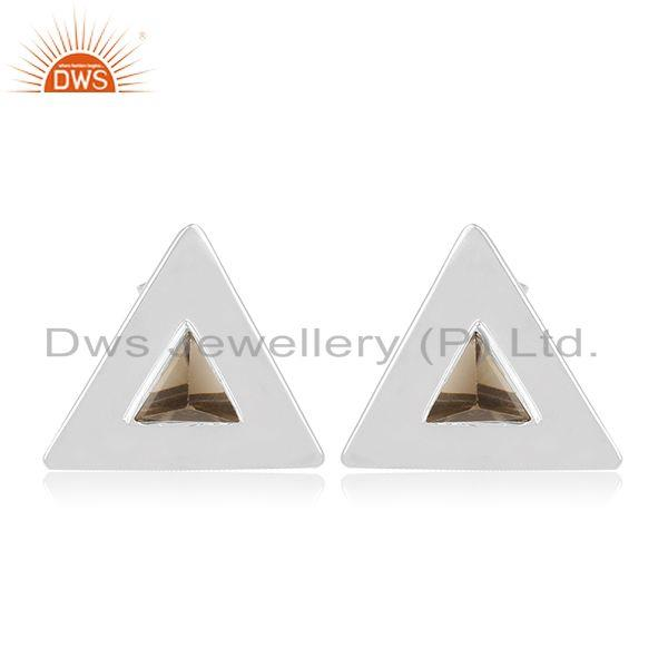 92.5 Sterling Silver Triangle Design Smoky Gemstone Stud Earring Manufacturer