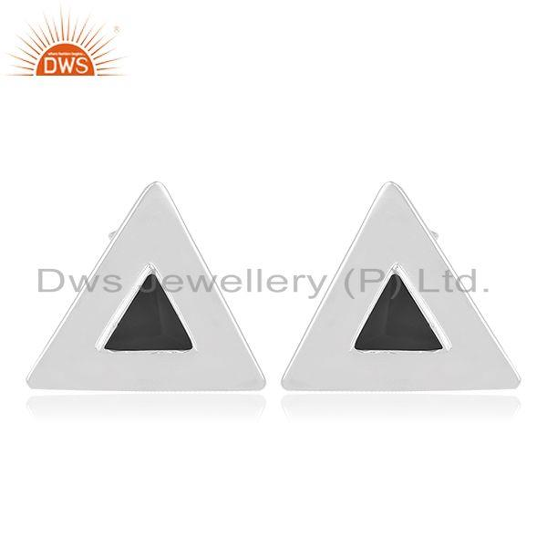 Black Onyx Gemstone Sterling Silver Triangle Stud Earring Jewelry Manufacturer