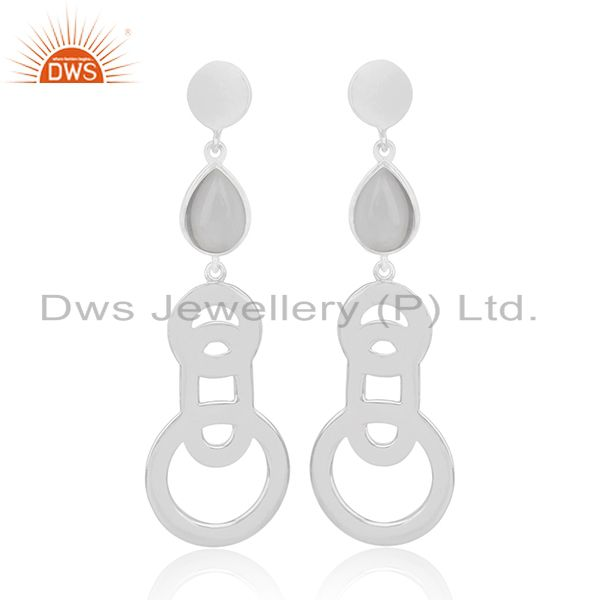 Wholesale 92.5 Sterling Silver Crystal Quartz Dangle Earring Jewelry