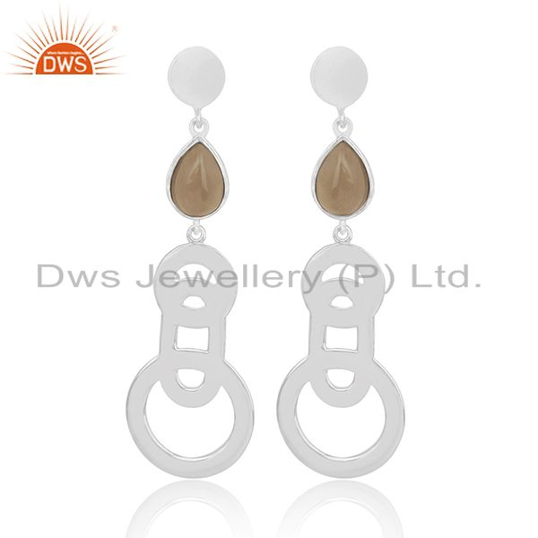 Buy 925 Sterling Silver Smoky Quartz Designer Earring Jewelry for Girl