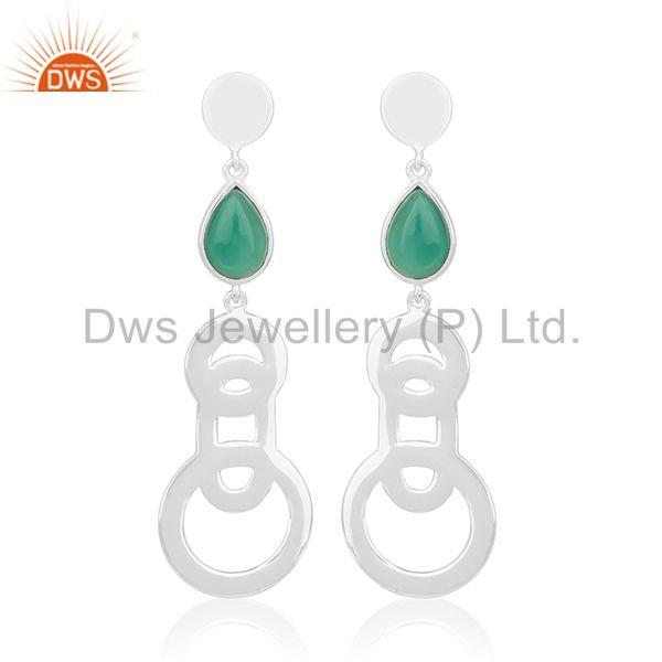 2017 New Design Fine Sterling Silver Green Onyx Gemstone Earring Wholesale