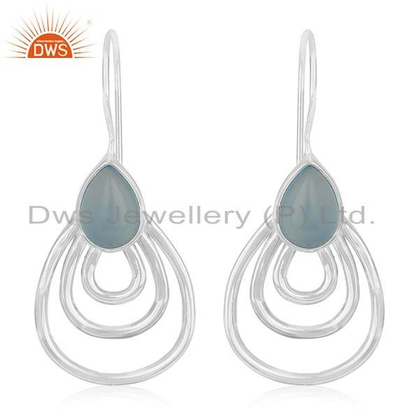 Handmade White Rhodium Plated 925 Silver Blue Chalcedony Gemstone Drop Earrings