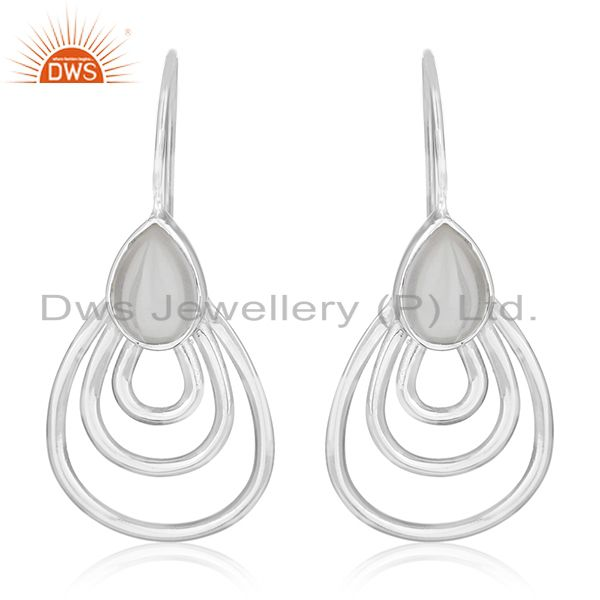 Crystal Quartz 925 Silver White Rhodium Plated Earrings Jewelry Wholesale