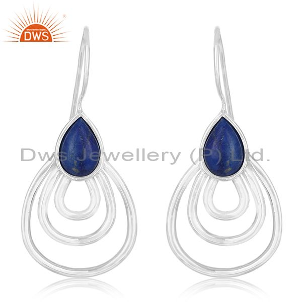 White Rhodium Plated 925 Silver Lapis Lazuli Gemstone Earrings Suppliers