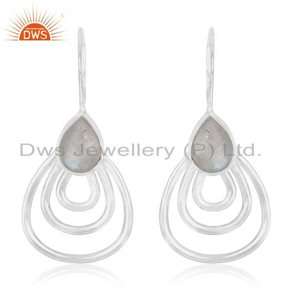 Rainbow Moonstone Sterling Silver White Rhodium Plated Earrings Wholesale India