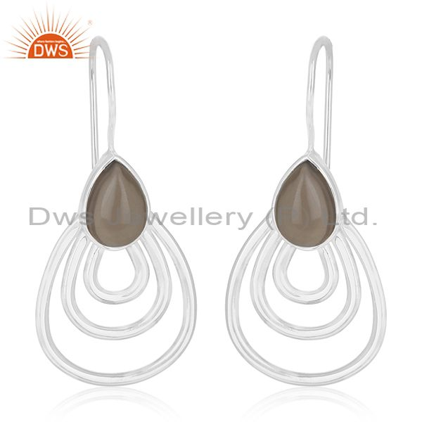 White Rhodium Plated 925 Silver Smoky Quartz Girls Earrings Wholesale
