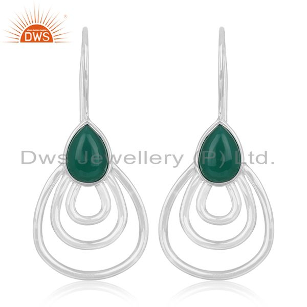 Green Onyx Gemstone 925 Silver Designer Earrings Jewelry Manufacturer From India