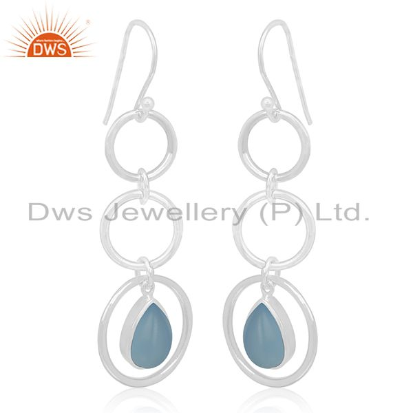 Blue Chalcedony Gemstone Sterling Silver Dangle Earring Custom Jewelry Wholesale